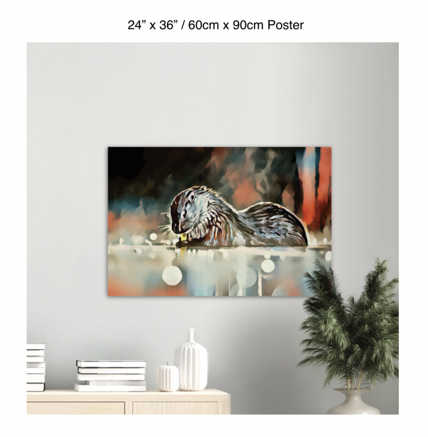 36 inch by 24 inch poster of an otter hanging over a bookshelf next to a plant