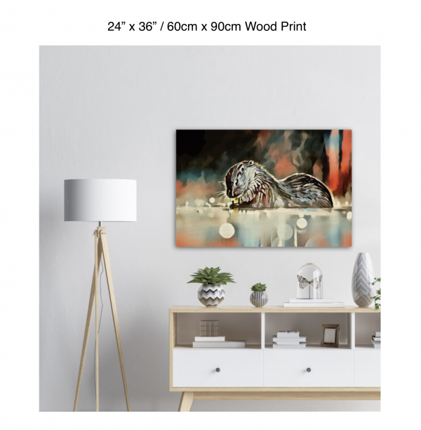 36 inch by 24 inch wood print of an otter hanging over a white credenza next to a white floor lamp
