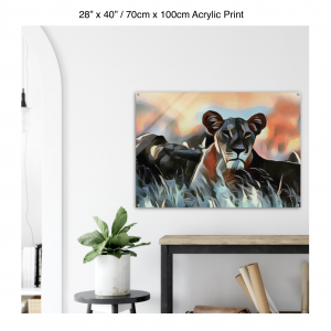 40 inch by 28 inch acrylic print of a lioness hanging over a shelf next to a small table with a plant
