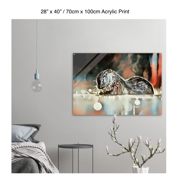 40 inch by 28 inch acrylic print of an otter hanging in a bedroom over a night table next to a small table with a plant