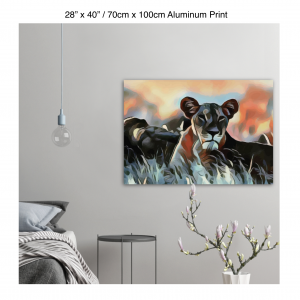 40 inch by 28 inch aluminum print of a lioness hanging in a bedroom over a night table next to a small table with a plant