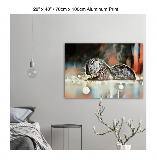 40 inch by 28 inch aluminum print of an otter hanging in a bedroom over a night table next to a small table with a plant