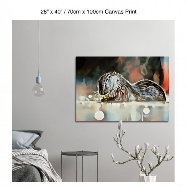 40 inch by 28 inch canvas print of an otter hanging in a bedroom over a night table next to a small table with a plant