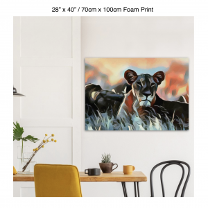 40 inch by 28 inch foam print of a lioness hanging over a dining table
