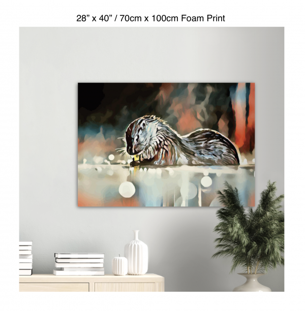 40 inch by 28 inch foam print of an otter hanging over a bookshelf next to a plant