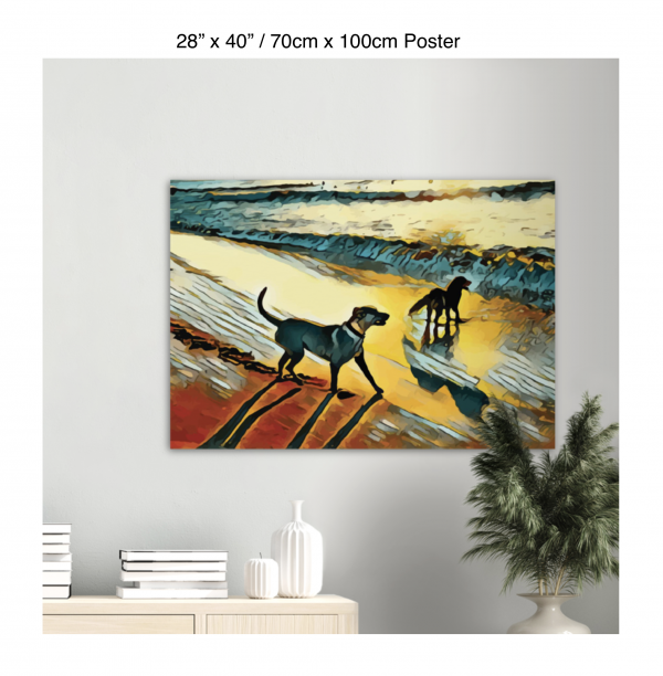 40 inch by 28 inch poster print of two dogs wading in the surf in golden tones of a sunset hanging over a bookshelf next to a plant