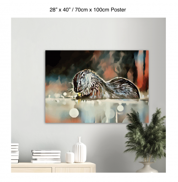 40 inch by 28 inch poster of an otter hanging over a bookshelf next to a plant