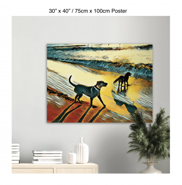 40 inch by 30 inch poster print of two dogs wading in the surf in golden tones of a sunset hanging over a bookshelf next to a plant