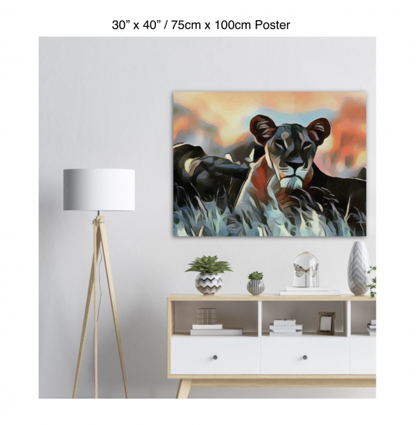 30 inch by 40 inch poster of a lioness hanging over a white credenza next to a white floor lamp