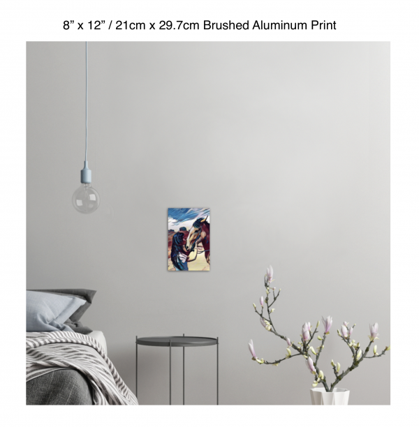 8 inch by 12 inch brushed aluminum print of a woman kissing a horse on the nose in front of a desert background hung on the wall above a metal table next to a bed