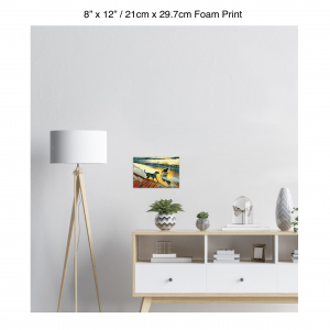 12 inch by 8 inch foam print of two dogs wading in the surf in golden tones of a sunset hanging over a credenza next to a floor lamp