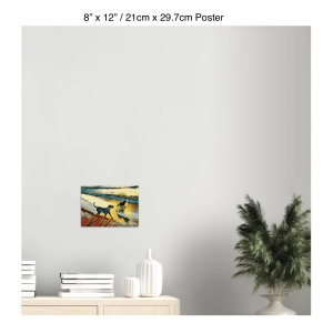 12 inch by 8 inch poster print of two dogs wading in the surf in golden tones of a sunset hanging over a bookshelf next to a plant