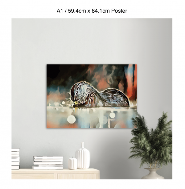 84.1cm by 59.4cm poster of an otter hanging over a bookshelf next to a plant