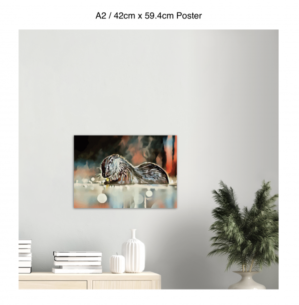 59.4cm by 42cm poster of an otter hanging over a bookshelf next to a plant