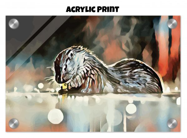 Acrylic print of an otter washing its hands in tones of red, blue, and silver-grey