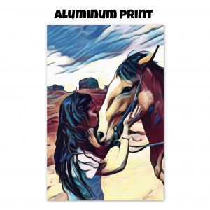 Aluminum print of a woman kissing a horse on the nose in front of a desert background