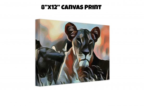 8 inch by 12 inch canvas print of a Lioness lying in the grass in tones of orange, blue, and gold