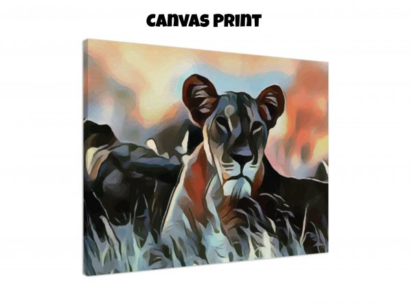Canvas print of a Lioness lying in the grass in tones of orange, blue, and gold