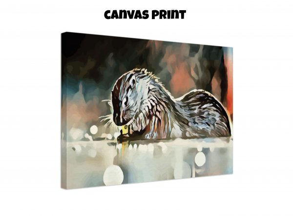 Canvas print of an otter washing its hands in tones of red, blue, and silver-grey
