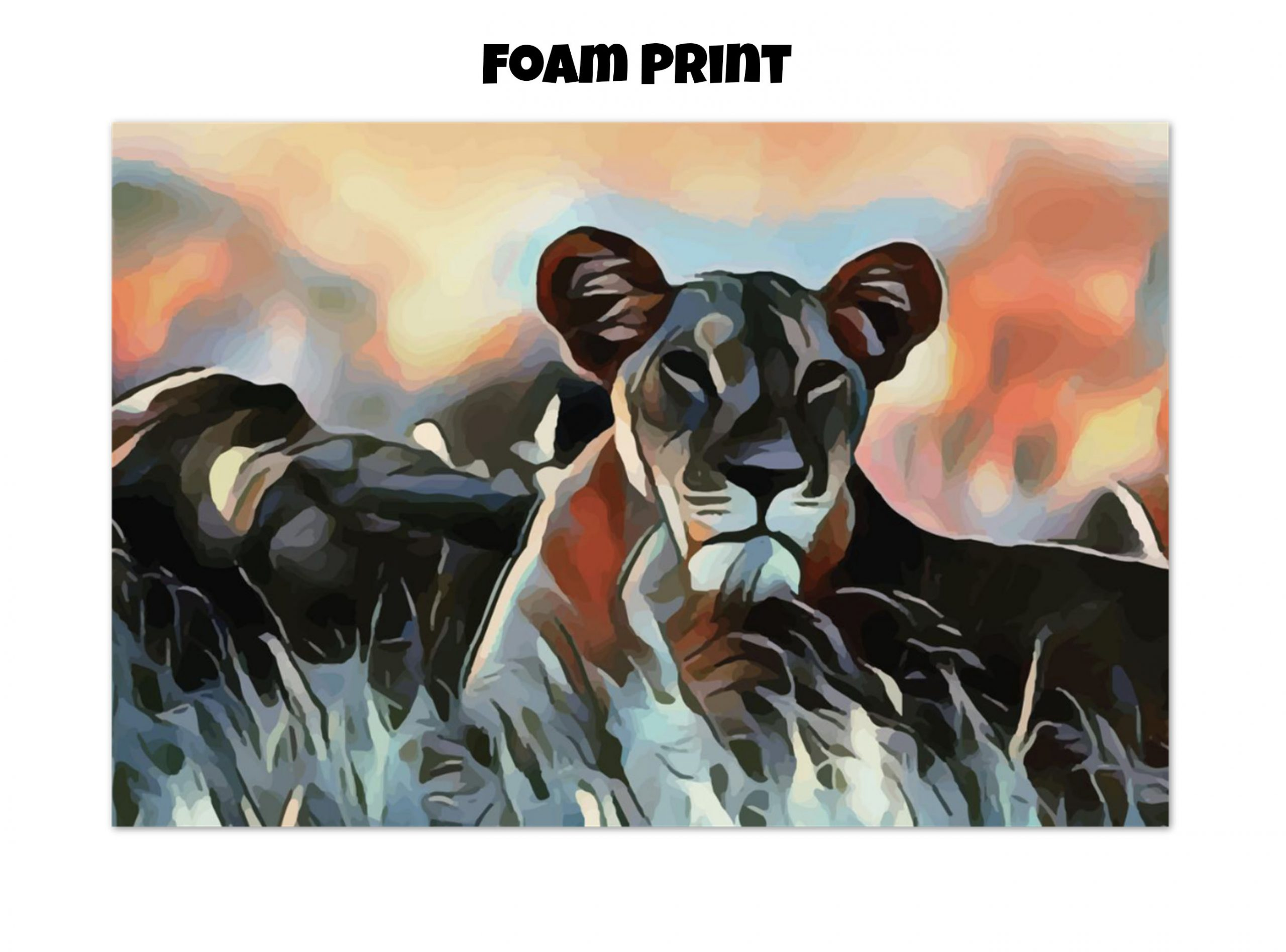 Foam print of a Lioness lying in the grass in tones of orange, blue, and gold
