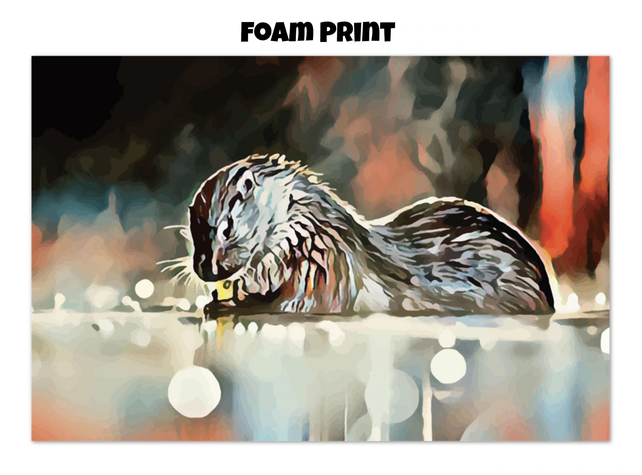Foam print of an otter washing its hands in tones of red, blue, and silver-grey