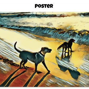 Archival matte poster of two dogs wading in the surf in golden tones of a sunset