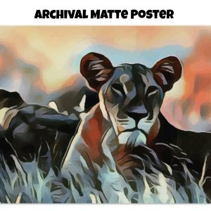 Archival Matte Poster of a Lioness lying in the grass in tones of orange, blue, and gold