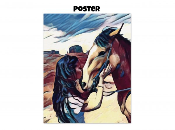 Archival matte poster of a woman kissing a horse on the nose in front of a desert background