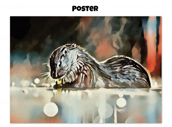 Archival matte poster of an otter washing its hands in tones of red, blue, and silver-grey