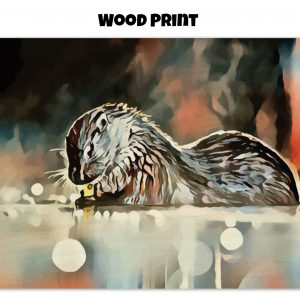Wood print of an otter washing its hands in tones of red, blue, and silver-grey