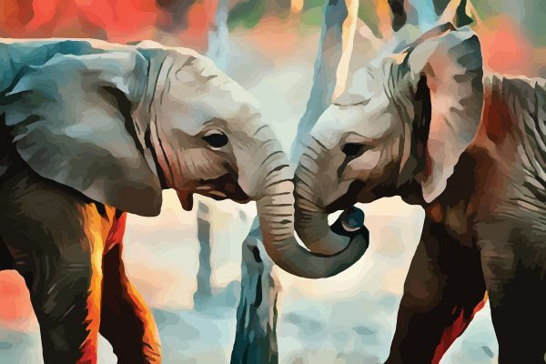 Stylized image of baby elephants cuddling each others' trunks done in orange and grey